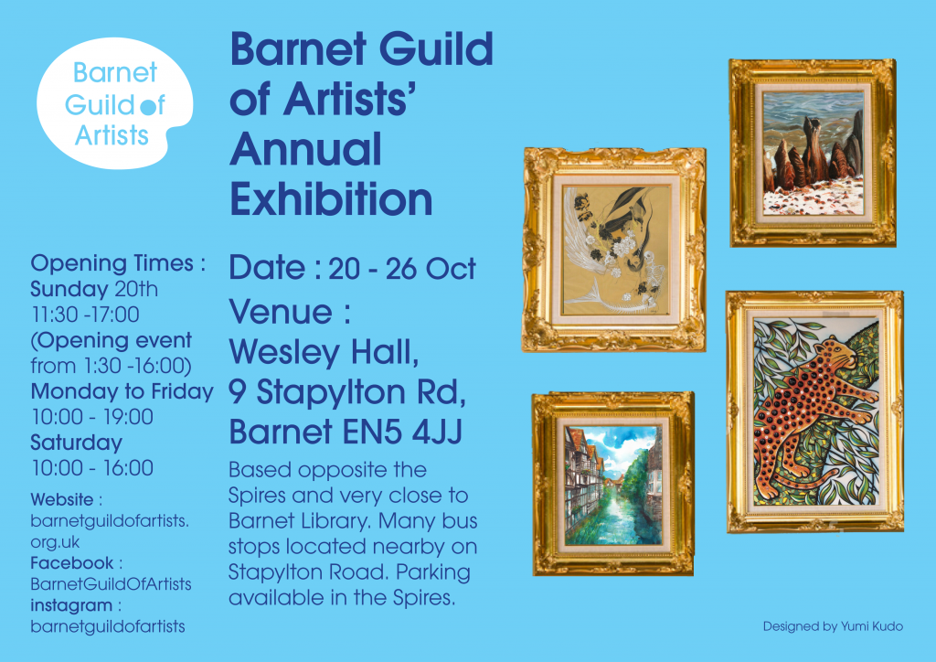 Flyer for the Barnet Guild Of Artists Annual Exhibition 2019